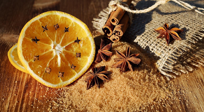 Orange Gewürze Nelken Zimt Zucker Sternanis Weihnachten