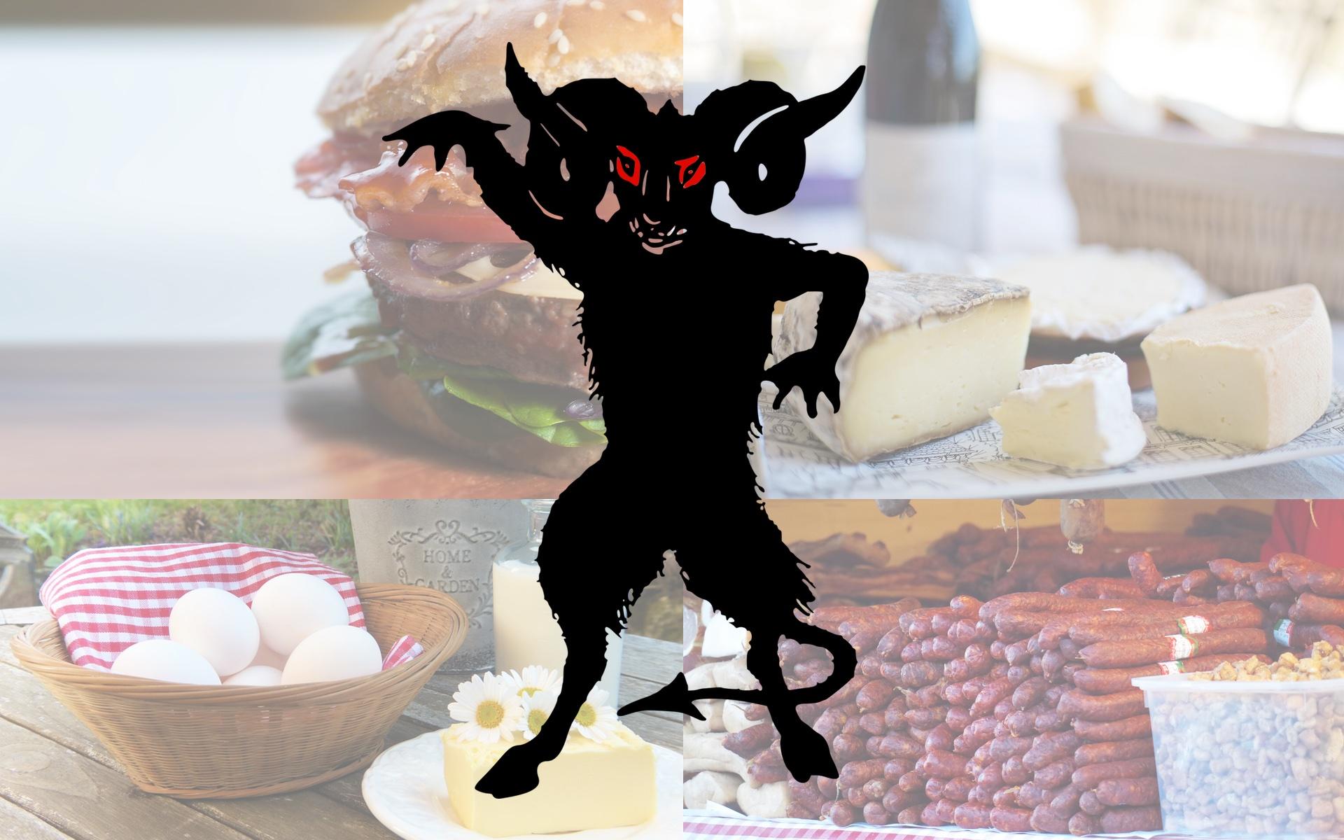 Risikoernährung Teaser Teufel Fleisch Wurst Milch Eier