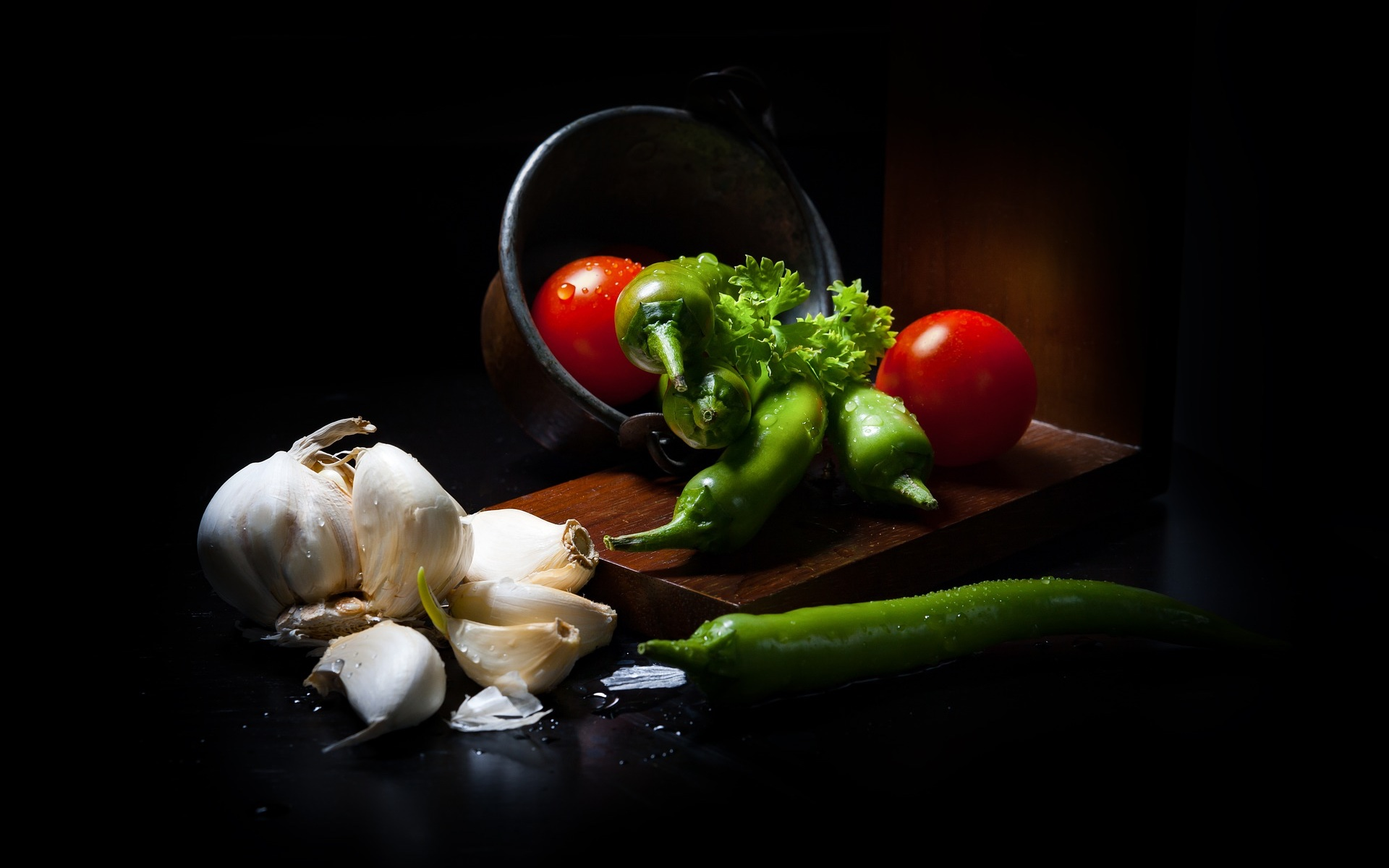 Gemüse Knoblauch Tomate PAprika pix 2983709