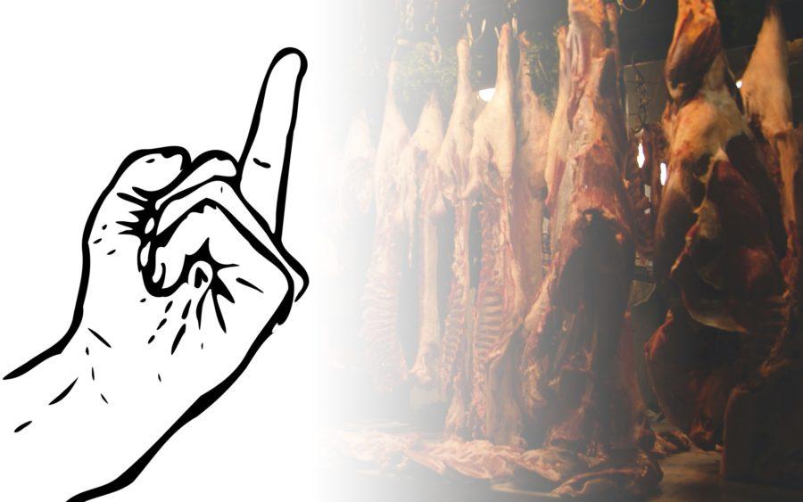 Mittelfinger gegen tote Schweine im Schlachthaus Vegan